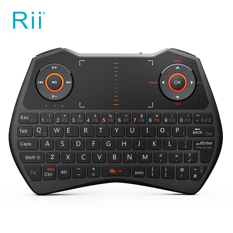 Rii i28C 2.4G Mini Wireless Keyboard for Laptop/Smart TV with Touchpad Backlight Ergonomic Design Multitouchpad Qwerty Keyboard ukb 106 all in one world s most mini 2 4ghz wireless qwerty keyboard mouse presenter combo with touchpad lithium battery for home office