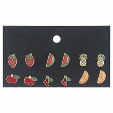 Free shipping fruit set earrings for women watermelon pineapple combination cute personality S26