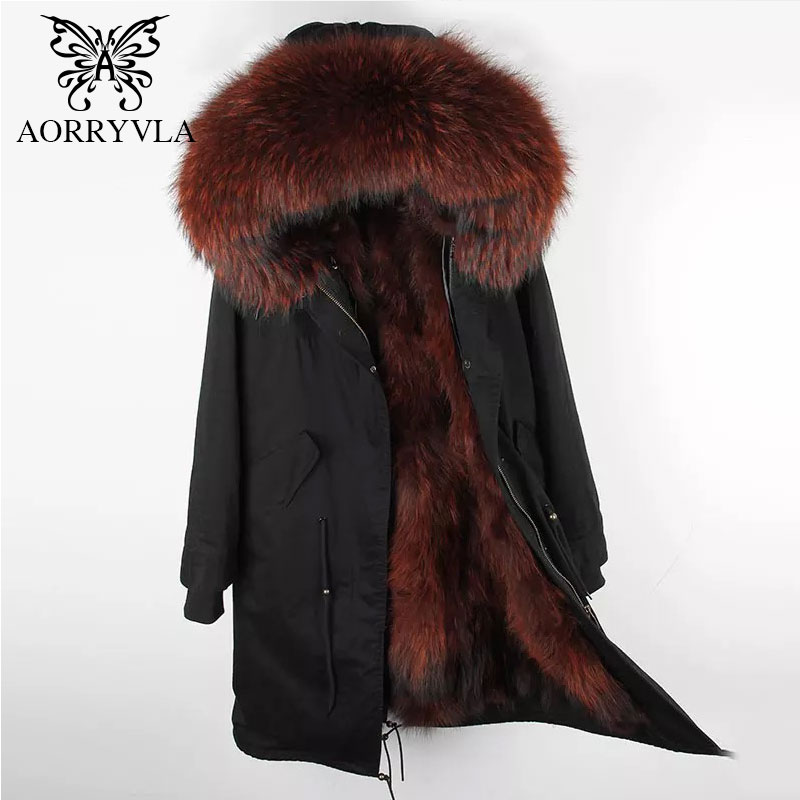 AORRYVLA 2018 Winter Women Fur Parka X-Long Jacket Large Raccoon Fur Hooded With Natural Real Fur liner Luxury Winter Coat