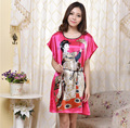 Women  Faux Silk Satin Nightgown Short Sleeve Sleepshirt Character Sleep Dress Round Neck Night Wear Leisure Homewear For Summer