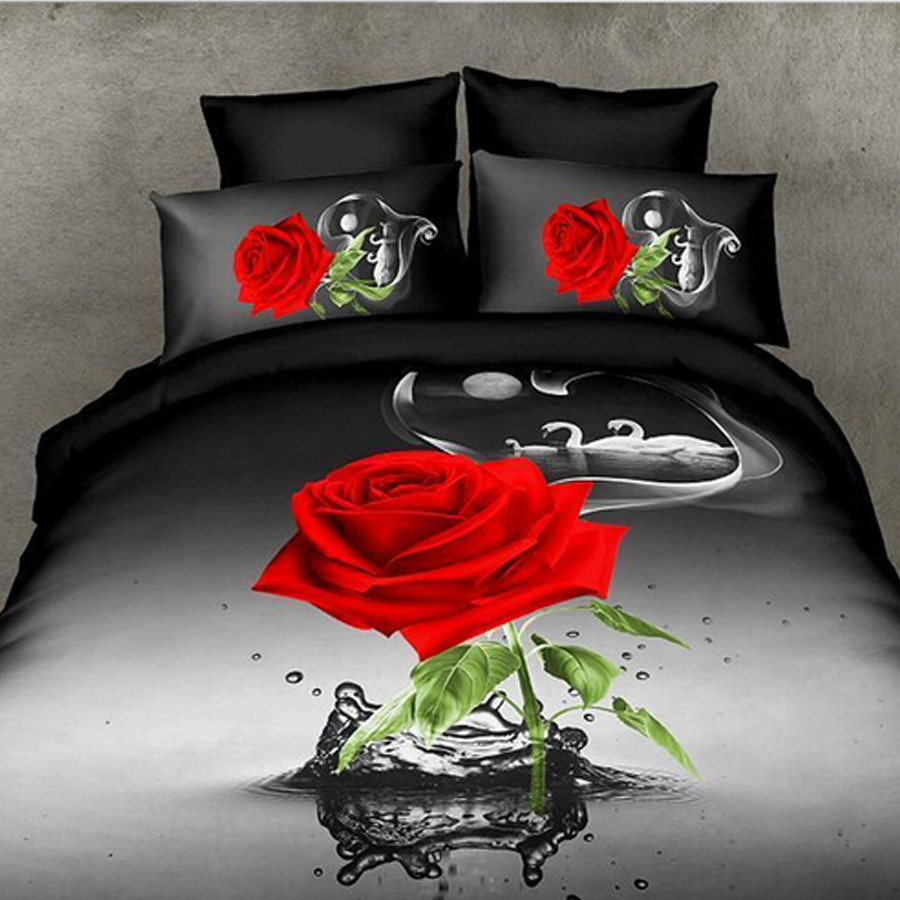 Queen Bed Sale Us 44 9 Hot Sale 3d Bedding Sets 4pcs Duvet Cover Set Queen Bed Sheet Set Red Rose Nice Bedclothes Romantic In Bedding Sets From Home Garden On