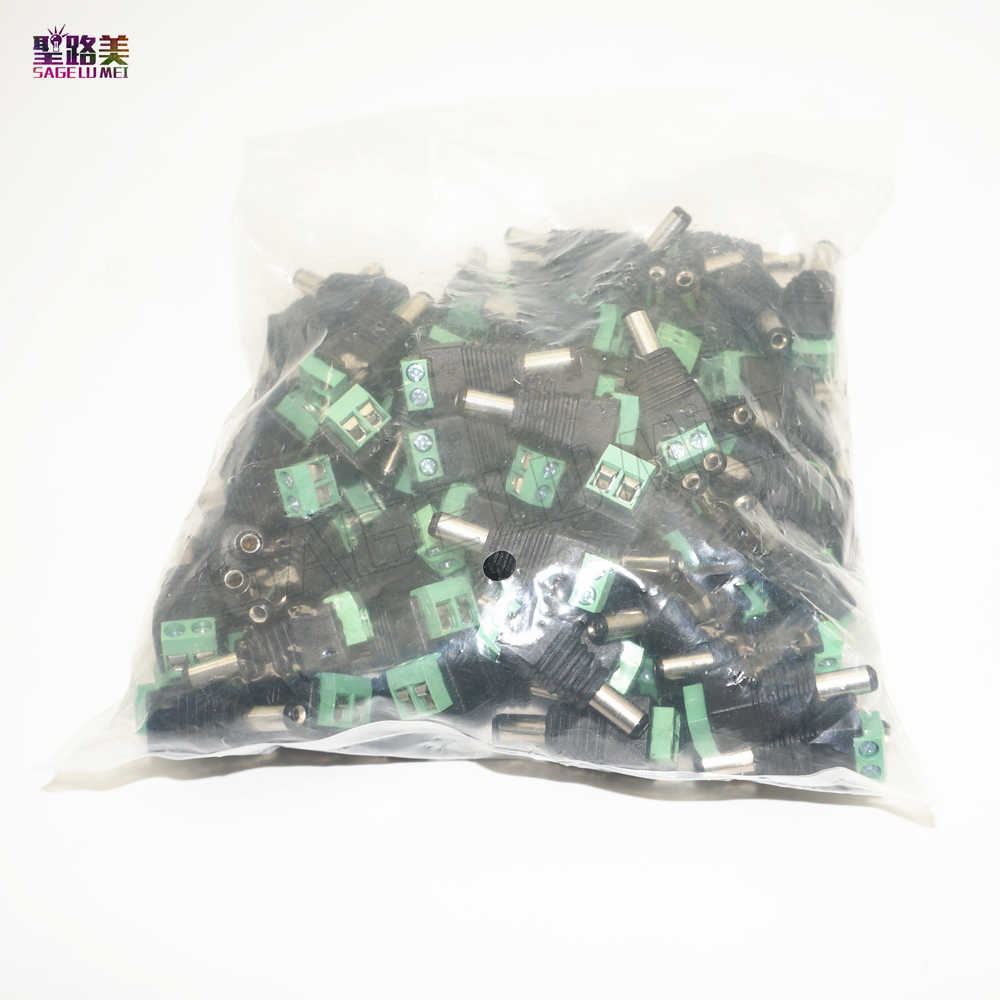 Wholesale 100pcs/LOT DC Power Male Jack Connector Plug 5.5mm x 2.1mm For CCTV Camera LED Light Via DHL EMS FEDEX
