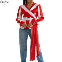 LXUNYI Ladies Tops And T Shirts Autumn New Fashion Red White Striped Shirt Women Sexy V