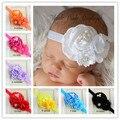 Laços De Cabelo do bebê Headbands Big flor Lace bebê faixa De Cabelo com pérola bebé acessórios De Cabelo infantil Headbands turbante