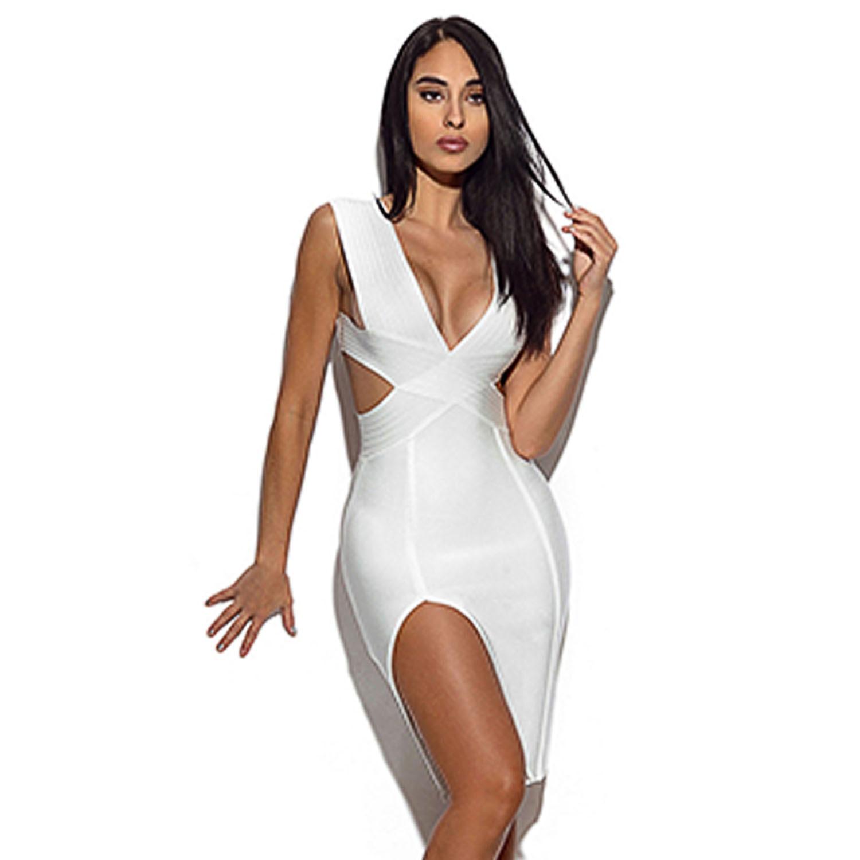 White Bandage Dress Bodycon Dress Hollow Out Sexy Dress Fall 2018 Sheath Spaghetti Strap Dresses