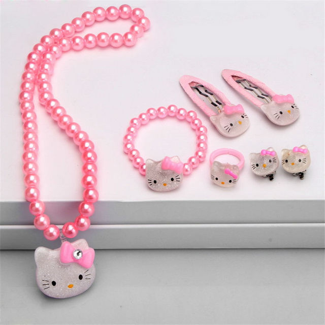 Children Hair Accessories Set Hello Kitty Jewelry 1set=7pcs Jewelry Accessories Necklace Bracelet Hairpin High Quality JQ01