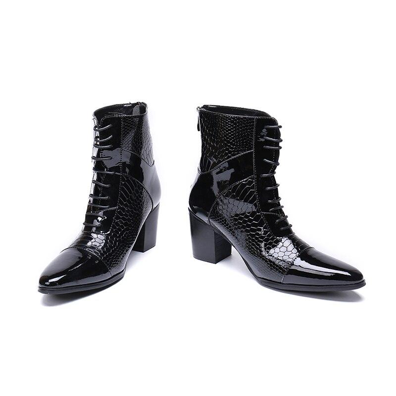 Chaussures hommes 7 CM talons hauts botas hombre chaussures d'hiver hommes noir véritable cuir combat chelsea bottes acier orteil chaussures militaires-in Bottes chelsea from Chaussures    2