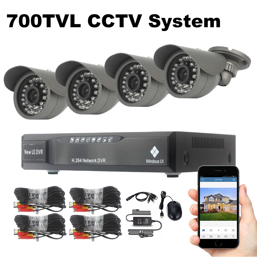 4CH 700TVL Security System CCTV Camera Surveillance Kit 18m Cables Night Vision Outdoor Waterproof Security Camera Kit