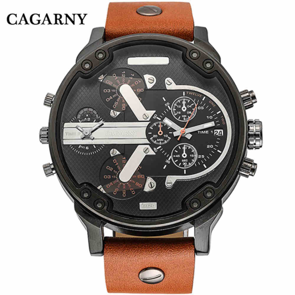 CAGARNY Top Brand Man Watches Large Hand Watch Leather Watchbands Quartz Clock Fashion High Quality Brand Male Wristwatch Gifts