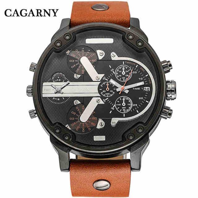 Cagarny Top marca hombre relojes mano grande cuero Correas de reloj de  cuarzo moda de alta f0756935ee44