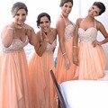 2016 Hot Style Halter Neck Orange Bridesmaid Dresses Beading Crystals Chiffon Prom Gowns vestido de festa de casamento B6