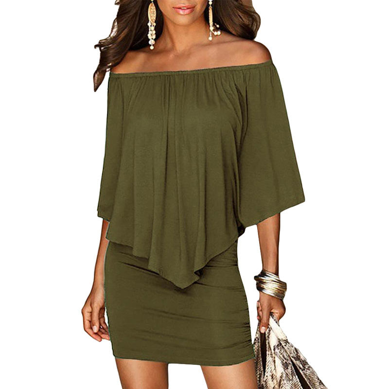 Army green Slash Neck Women Mini Dress