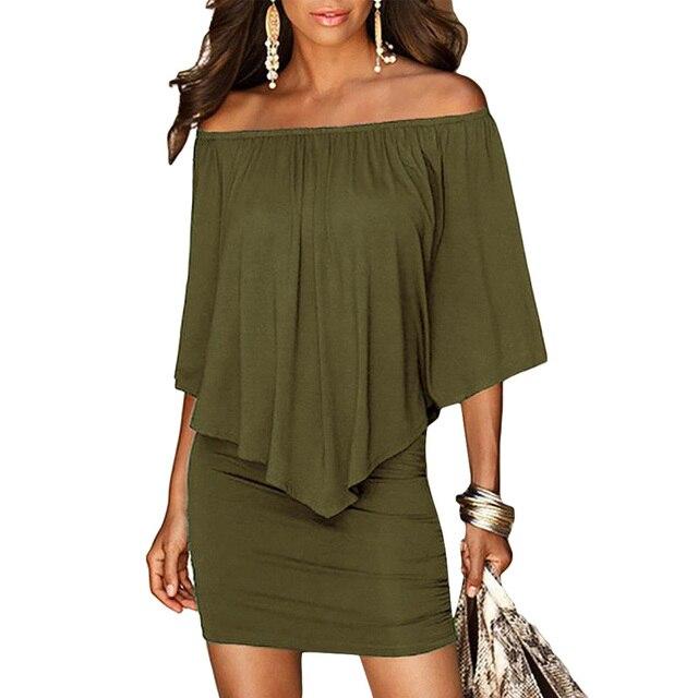 Army green Slash Neck Women Mini Dress