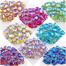 hot deal buy 50pcs/bag 11 shapes mix 15 ab colors gold claw setting glass crystal sew on rhinestone crystals wedding dress shoes bags diy
