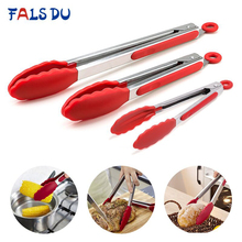 Silicone Food Tong Stainless Steel Kitchen Tongs Non-slip Cooking Clip Clamp BBQ Salad Tools Accessories