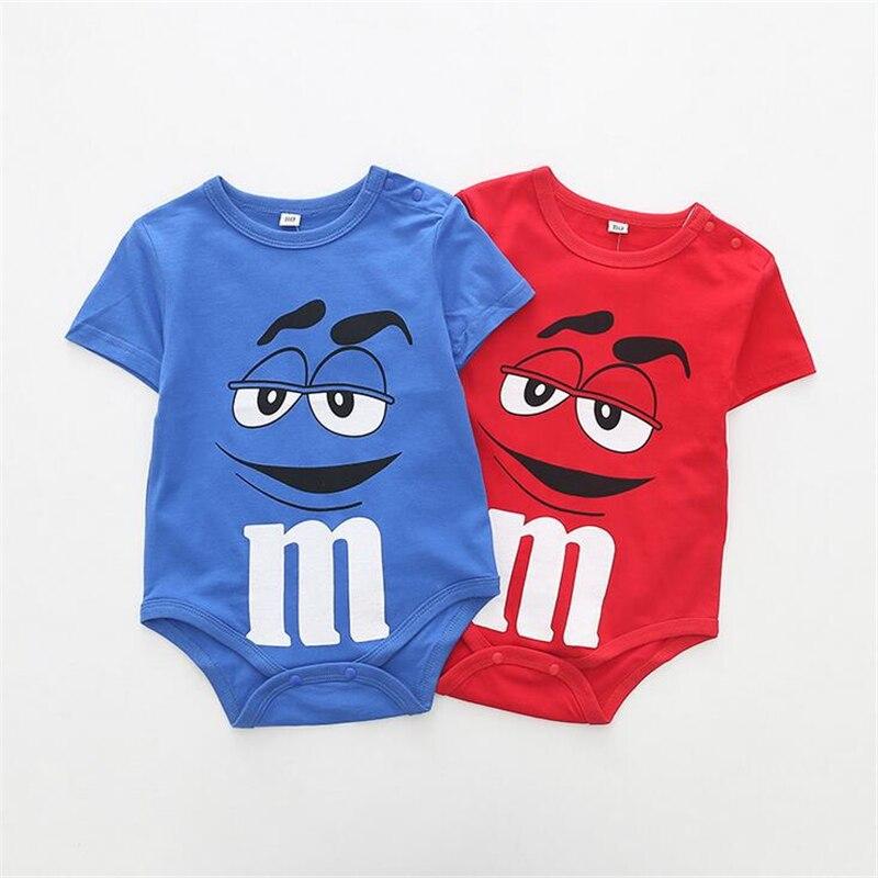 0-24M Newborn Baby Boys Girls   Romper   Cotton M Chocolate Cartoon Baby Jumpsuit Short Sleeve Toddler Infant Summer Clothing