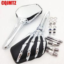 Esqueleto Crânio Do cromo Preto Motos Espelhos Para Harley Dyna Softail Sportster Touring