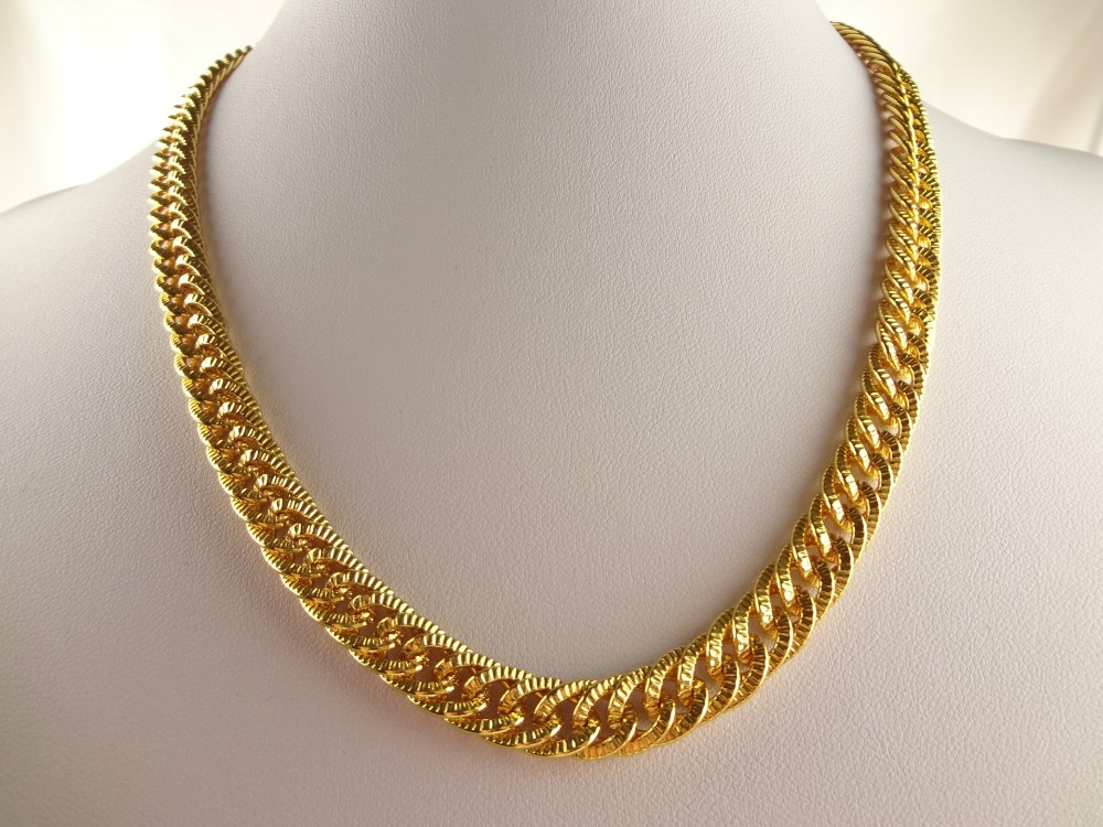 ct link miami cuban mm gold finish mens diamond chain itm yellow necklace real