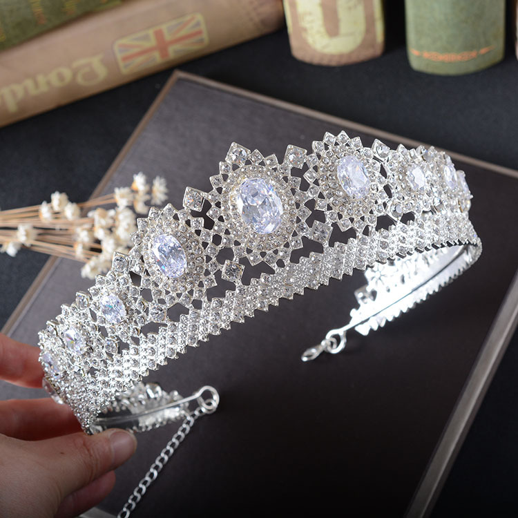 SHOSIXUAN Gorgeous Vintage Big Silver Wedding Diamante Pageant Crowns Tiaras Crystal Bridal Crown Bride Hair Jewelry Headpiece