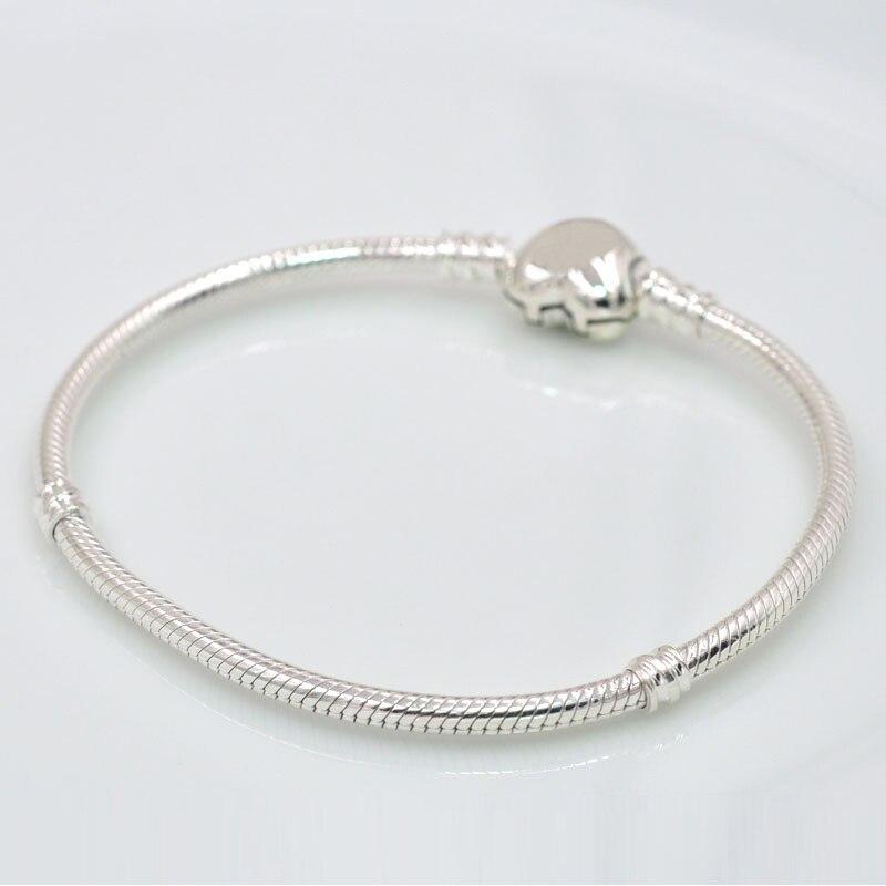 Charmlead Authentic 925 Sterling Silver Snake Bracelet Classic Heart Clasp Fit Original Bracelet Bangle Charms
