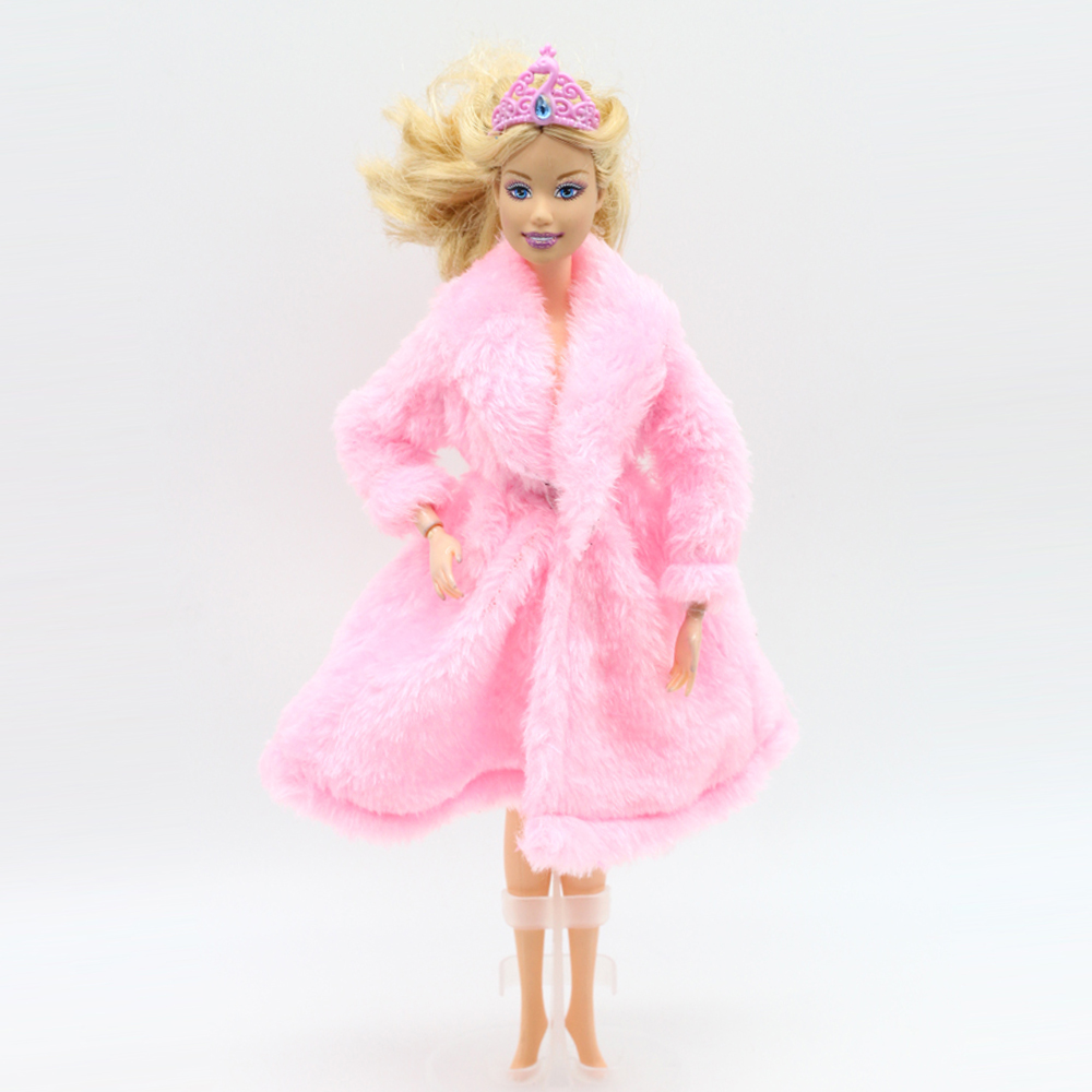Pink fashion Plush the Winter big coats for barbie doll 1 6 dress clothing Leisure Suit