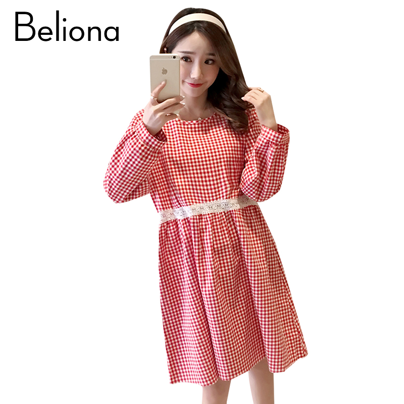 Plaid Maternity Clothing Cute Pregnancy Dress Cotton Loose Long Sleeve Maternity Clothes Of Pregnant Women Spring