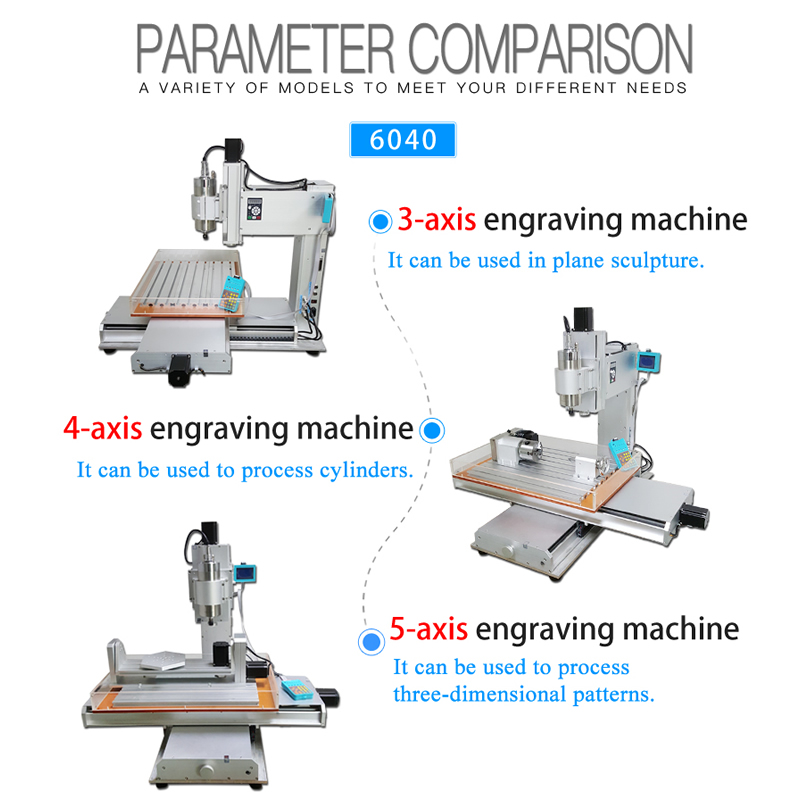 2200W Wood Router 4 Axis Cnc 6040 5 Axis Vertical Metal Cnc Milling Machine