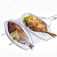 BBQ Bold Stainless Steel Mesh Mat Grill Net Grilled Fish Net Clip Grilling Basket Rotisserie Kitchein Aid Barbecue Accessories
