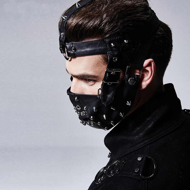 Punk Rave Punk Baru Steampunk Hitam Rivet Masker Fashion Gothic Cosplay Pakaian Aksesoris Keren