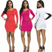 2018 long sleeve o neck casual Bodycon Tunic Slim Sexy Clubwear Bandage Tshirt Dress patchwork women clothing spring robe femme