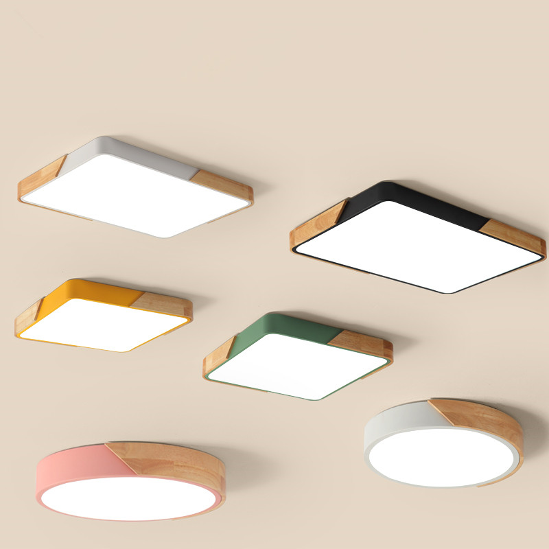 все цены на New Wood Led Ceiling Lights For Living room Bedroom Kitchen luminarias de teto Indoor Lighting Ultra thin Ceiling Lamp Fixtures онлайн