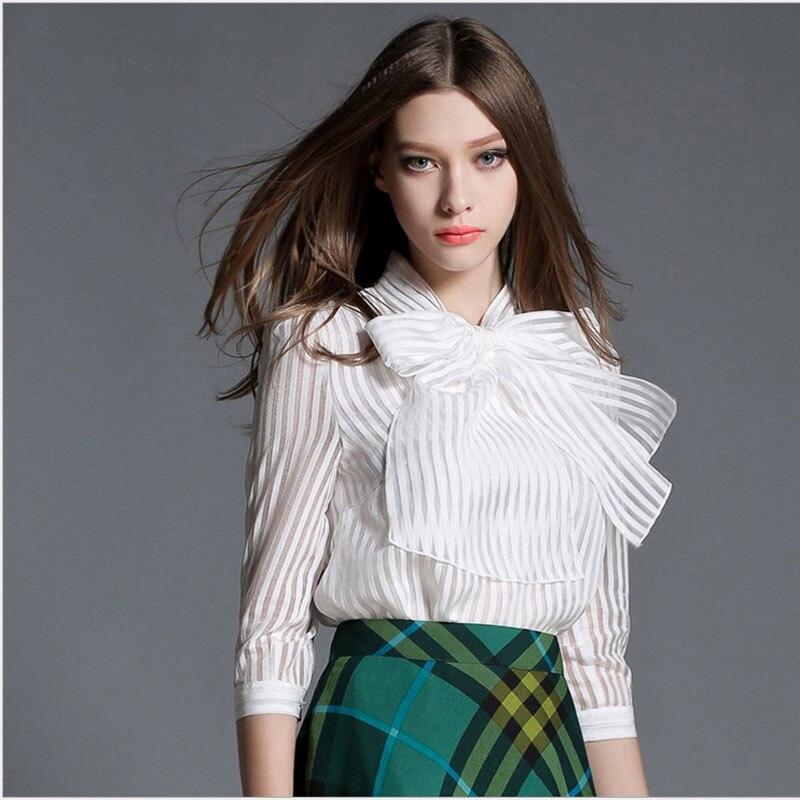 1 pcs Ladies plus size chiffon OL blouses tops 2016 Summer bowknot stripe White Primer shirt Formal office shirts Womens