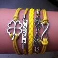 De Metal Mulheres Bijuteria Infinito Trevo Fé Coruja ligação envoltório pulseira Corda Amarela Zolly Antigo de Prata Encantos pulseira