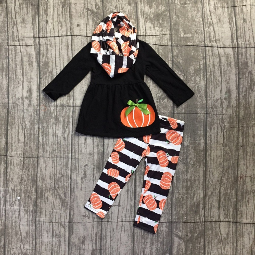 hot sell FALL/Winter Halloween pumpkin 3 pieces scarf black orange pant sets baby girls print boutique clothes kids stripe sets zutano unisex baby candy stripe pant