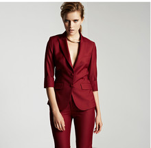 2017 Limited New Formal Women Suit For Office Ladies Business Custom Made Wine Professional Work Wear Clothes (jacket+pants)