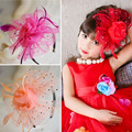 Big Flowers Feather Yarn Children Hair Accessories Pearl Baby Headband Children Hair Wedding Accessories Party Girls Headband