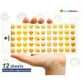 Upslon 2017 Emoji Emoji Emoticonos Pegatinas Etiqueta Engomada 12 hojas Cortadas Etiqueta Sonrisa Teléfono Móvil para Portátiles Mensaje de Alta Vinilo Divertido