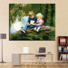 Brother and Sister Reading A Book By Numbers Kits Hand painted Style On Linen Canvas Home Decorative Unique Gift DIY Painting