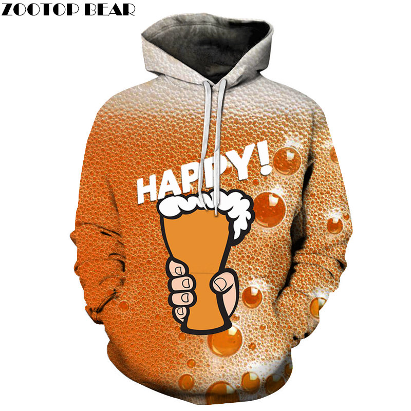 Hand Painted Mens Hoodies Round Neck Long Sleeve Sweatshirts Beer Tracksuits Casual 3d Pullover Fashion Streetwears ZOOTOPBEAR