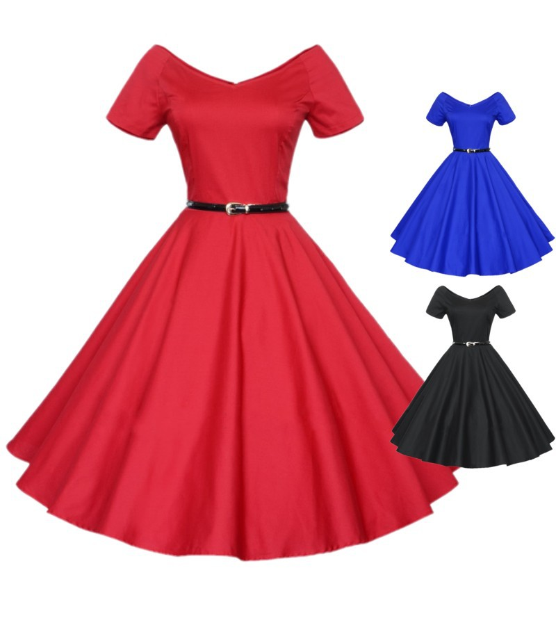 Europe and America Summer Elegant Vintage Hepburn Short Sleeve V Neck One  Piece Dress Medium Long Expansion Bottom Formal Dress -in Dresses from  Women s ... 254d72b1a526