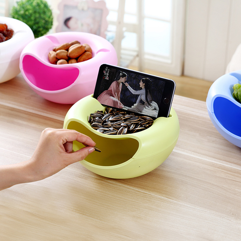 Creative Shape  Plastic Fruit Dish Snacks Nut Melon Seeds Bowl Double Layer Plastic Candy Plate Peels With Phone Holder For TV-in Storage Boxes & Bins from Home & Garden