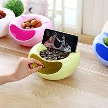 크리 에이 티브 모양 플라스틱 과일 접시 간식 너트 멜론 씨앗 그릇 TV 용 전화 홀더와 더블 레이어 플라스틱 캔디 플레이트 껍질