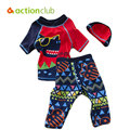 Actionclub meninos swimwear com chapéu crianças treinamento maiô maiô crianças beach wear roupas de verão conjunto 3 pcs impressão dos desenhos animados