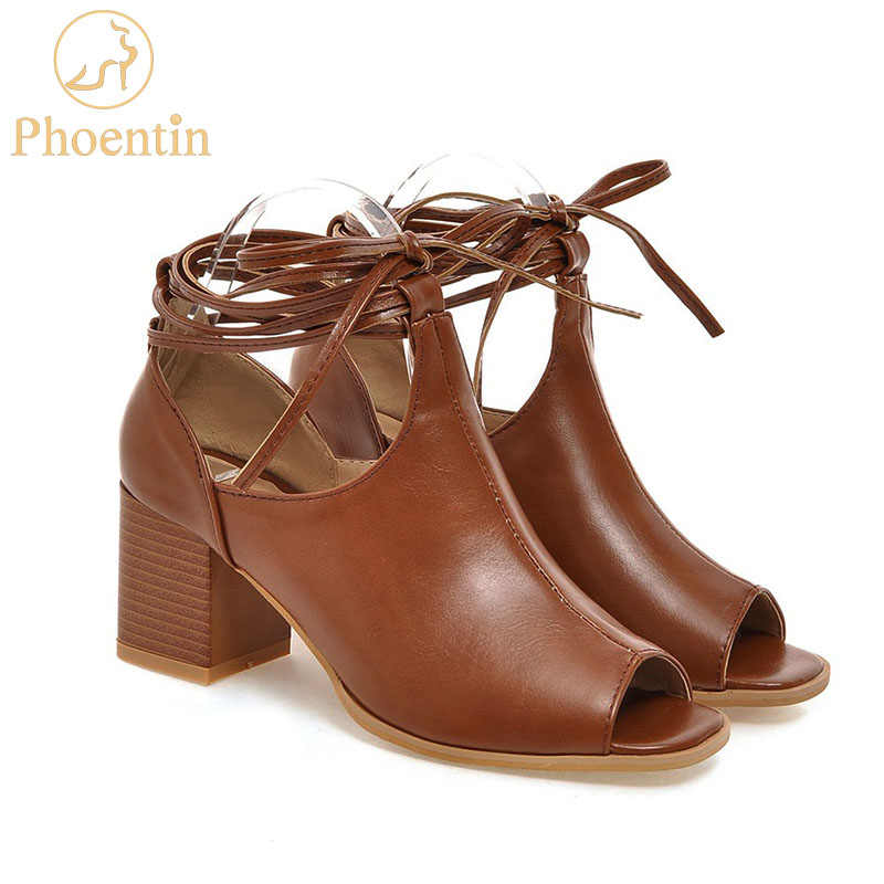 d38991722738f5 Phoentin brown high heels sandals women sexy ankle strap shoes women peep  toe female summer shoes