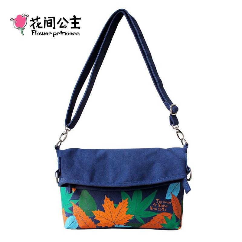 Flower Princess Brand Girl Fashion Canvas Fold Over Shoulder Bag Ladies Small Crossbody Bag bolsas feminina sac pliage toile