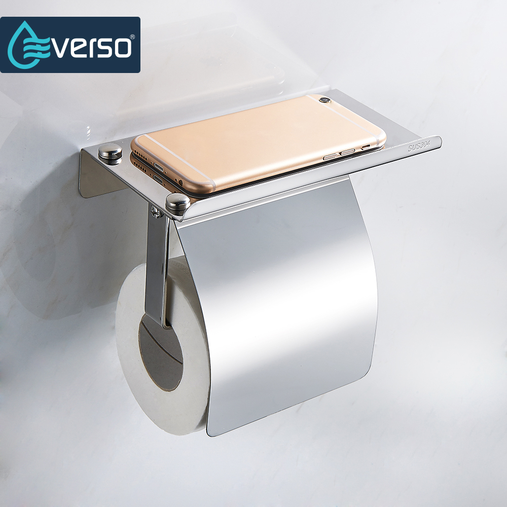 EVERSO Toilet Paper Holder with Shelf Stainless Steel Toilet Roll Holder With Cover Tissue Holder Bathroom Accessories everso wall mounted toilet paper holder with shelf stainless steel toilet roll paper holder tissue holder bathroom accessories