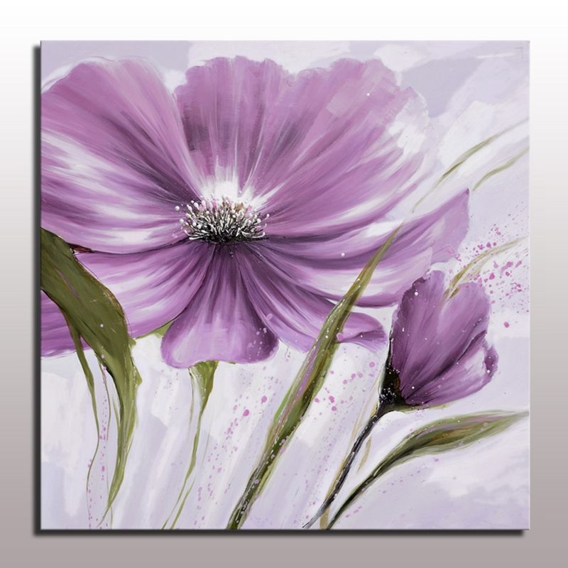 Purple Flower Oil Painting Abstract Wall Art Picture: Beautiful Abstract Flower Painting Decorative Flower Oil