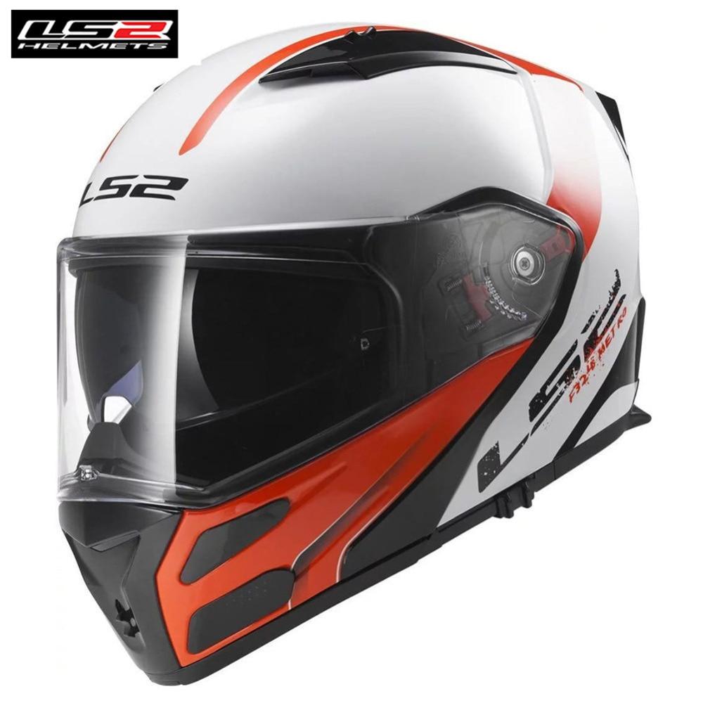 LS2 Metro Flip Up Casque de Moto Casque modulaire Casco Capacete Moto Kask casques de tourisme Casque café Racer Cruiser moteur FF324