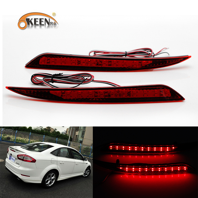 Okeen 2x Car Styling Red Led Rear Per Reflector Light For Ford Fusion Mondeo 2017 2018 Tail Brake Stop Lamp 12v
