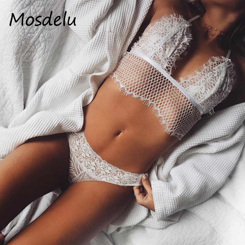 a1586db9be35b Mosdelu White Lace Bralette Crop Top Sexy Sheer Bralette Push Up Mesh Bras  For Women Caged Bralette Lingerie Lace Bra Tops -in Bras from Underwear ...